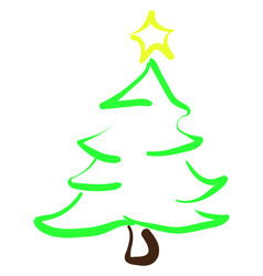 christmas tree drawing on white background vector image