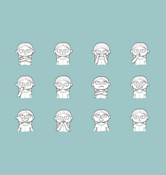 collection of 12 collection of 12 of little girl vector image