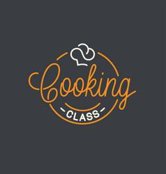 Cooking class logo round linear logo chef hat vector