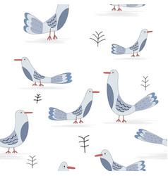 cute funny bird seamless pattern vector image
