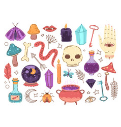 Doodle occult elements hand drawn stickers vector