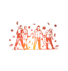 family autumn park people tree concept vector image