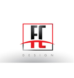 Fc f c logo letters with red and black colors and vector