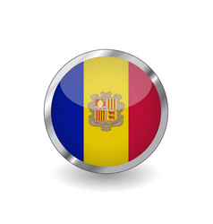 flag of andorra button with metal frame and vector image