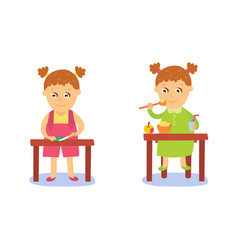 flat cartoon kid doing routine activity set vector image
