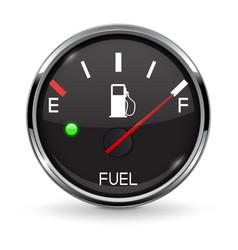 Fuel gauge full tank round black car dashboard vector