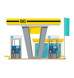 Gas pump station exterior of shop gas petroleum vector