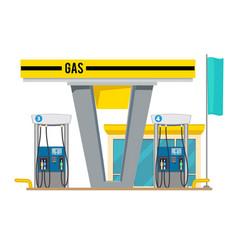 Gas pump station exterior of shop petroleum vector
