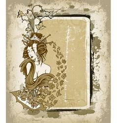 Geisha with floral grunge frame vector