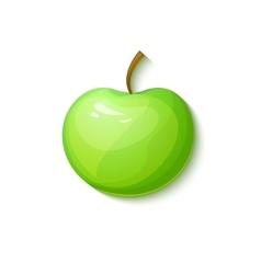Green apple in cartoon style vector image