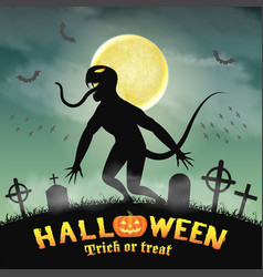 halloween silhouette monster in a night graveyard vector image