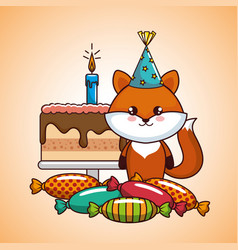 happy birthday card with cute fox vector image