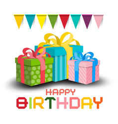 happy birthday invitation card colorful paper vector image