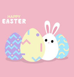 happy easter greeting card with bunny behind egg vector image