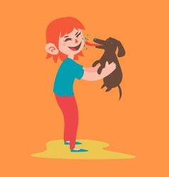 Happy Girl Holding her Dog vector image