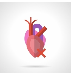 Heart illness flat color icon vector image