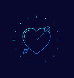 Heart with arrow icon linear vector