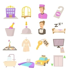 Hotel items set cartoon style vector image