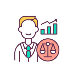 improving financial performance rgb color icon vector image