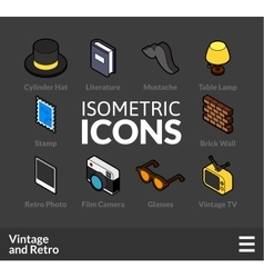 Isometric outline icons set 49 vector image