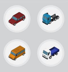 Isometric transport set of lorry autobus truck vector