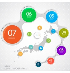 Japan Map and Elements Infographic vector image
