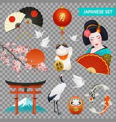 japanese symbols set transparent vector image