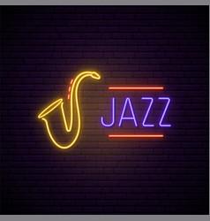 jazz music neon sign bright night signboard vector image