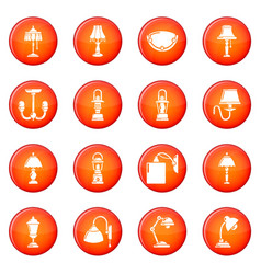 lamp icons set red vector image