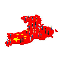 Large group people in shape china flag vector