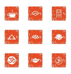 Last supper icons set grunge style vector