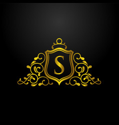 luxury shield logo vector image