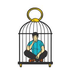 man in cage sketch vector image