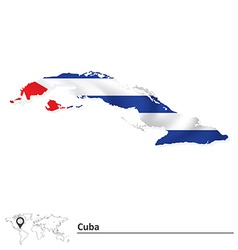 Map of Cuba with flag vector image
