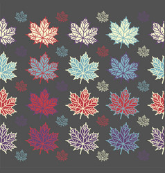 Maple leaf seamless pattern on grey background vector