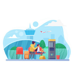 Mother and child in airport flat vector