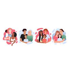 Multicultural multiracial happy family posing vector
