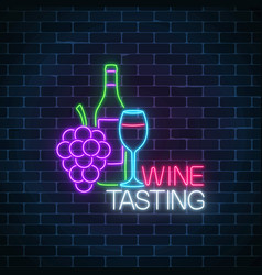 neon glowing sign of wine tasting in circle frame vector image