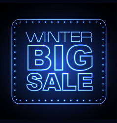 neon sign winter big sale vector image