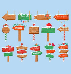North pole signs christmas wooden street signboad vector