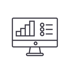 online data analysis report line icon sign vector image