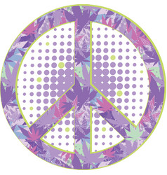 peace symbol with texture of cannabis vector image
