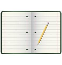 Pencil on notebook vector