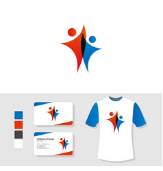 People logo design with business card and t shirt vector