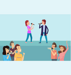 people singing song and recording show vector image