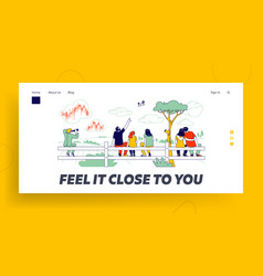 People sit on fence rear view landing page vector