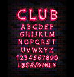 pink neon tube alphabet font vector image