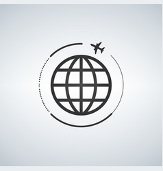 plane around the world vector image
