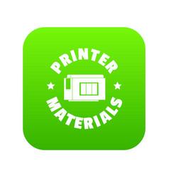 printer materials icon green vector image