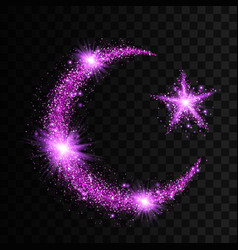 Purple particles wave in form of crescent and star vector
